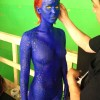 Jennifer Lawrence gets her body painted blue to reprise her role as Mystique in 'X-men: Days of Future Past'