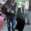 Nicki Minaj leaves her actor's trailer while on the set filming 'The Other Woman' in NYC